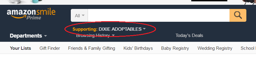 Click to visit Amazon Smile and set Dixie Adoptables as your charity